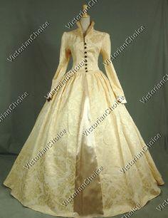 3f554fb0b9     Victorian Tudor Gothic Jacquard Period Formal Dress Ball Gown  Reenactment Theatrical Clothing