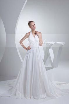 Fabulous A-Line Chapel Train Spaghetti Straps White Taffeta Ruffles with Beading Wedding Dress