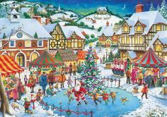 ravensburger, christmas jigsaw puzzles | Trower Artist joy of christmas santa is skating with kids christmas ...