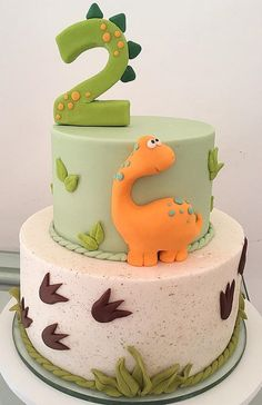 Dinosaur Birthday Cakes, Baby Boy 1st Birthday Party, Cute Birthday Cakes, Gateau Baby Shower Garcon, Dino Cake, Decoration Patisserie, Cake Decorating Tips, Cakes For Boys, Creative Cakes