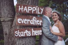 Happily Ever After starts here.  Wedding Sign