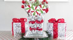 DIY Festive Holiday Centerpiece Filled with Chocolate Kisses