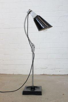 Vintage Industrial Desk lamp By Walligraph Circa Vintage Industrial Lighting, Industrial Desk, Black Enamel, Desk Lamp, Bulb, Steel, Black Polish, Industrial Office, Office Lamp
