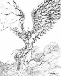 Tattoo Drawings, Body Art Tattoos, Art Drawings, Dark Angels, Angels And Demons, Fallen Angels, Engel Tattoo, Angel Drawing, Angel Sketch