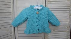 Hand knitted Baby Jacket in Teal