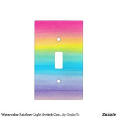 Watercolor Rainbow Light Switch Cover by Orabella Prints. Rainbow Room Kids, Rainbow Bedroom, Rainbow Theme, Rainbow Nursery, Rainbow Wall, Rainbow Light, Rainbow Decorations, Teen Girl Bedrooms, Girl Rooms