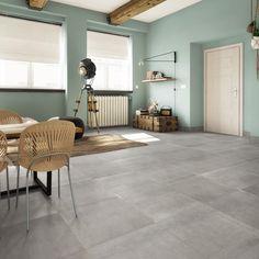 Carrelage sol gris effet ciment Tonnerre x cm Grey Tiles, Home Staging, Interior Design Living Room, Sweet Home, New Homes, House Design, Cabinet, Leroy Merlin, Furniture
