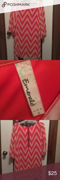 Selling this Coral chevron dress on Poshmark! My username is: cadougan. #shopmycloset #poshmark #fashion #shopping #style #forsale #Emerald  #Dresses & Skirts