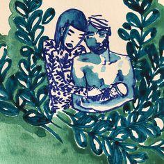 Fini ! Dessin Jungle Corner #dessin #surmonbureau #couple #drawing #mydrawings #encre #ink #floral #quandjemennuie