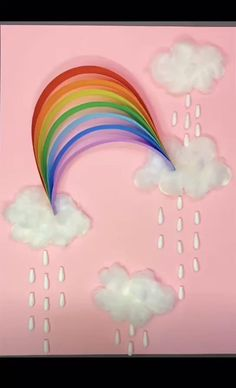 Sharing some rainbow crafts to brighten your day as well! These paper strip rainbows are SO CUTE and they're really easy to make!  A super fun craft for kids in springtime. Paper Crafts Origami, Paper Crafts For Kids, Easy Crafts For Kids, Craft Activities For Kids, Toddler Crafts, Creative Crafts, Preschool Crafts, Diy For Kids, Creative Art