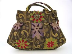 floral bag small tote bag purple and pink floral by daphnenen