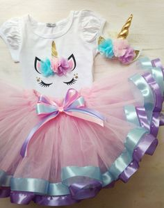 Unicorn Tutu Outfit For Birthday, Pink Tutu Outfit For Unicorn Birthday, Unicorn Cake Smash - Party Time 2020 Unicorn Themed Birthday, Birthday Tutu, Girl Birthday, Cake Birthday, Princess Tutu Dresses, Baby Girl Dresses, Baby Dress, Tutu Outfits, Girl Outfits