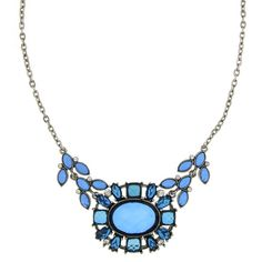 Revitalize your look with bold blue hues from our 2028 Collection. This eye-catching collar necklace flaunts a blooming bud of blue sapphire lucite stones accented with a mesmerizing medley of white diamond glass crystals. Nickel-Free.