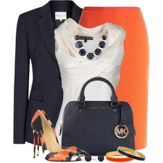 Navy and Orange Work Outfit Classy Outfits, Casual Outfits, Cute Outfits, Fashion Outfits, Womens Fashion, Ladies Outfits, Work Fashion, Fashion Looks, Style Fashion