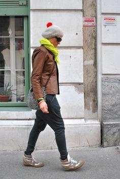 i like the grey hat w/ the orange pompom.  :)