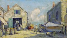 """""""Provincetown Docks,"""" Arthur V. Diehl,  oil on board, 17 x 30"""", private collection."""