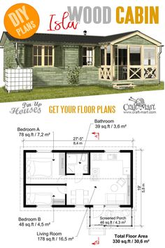 Small and tiny Home plans with cost to build - Cabin with Screened Porch Plans Isla floor plans under 2000 sq ft Tiny House Cabin, Tiny House Living, Tiny House Plans, House Floor Plans, Tiny Home Floor Plans, Small House Plans Under 1000 Sq Ft, House With Porch, Cottage House, Tiny Houses