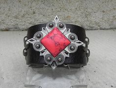 Brown Leather Cuff Bracelet with Antique Silver and Red by tcra466