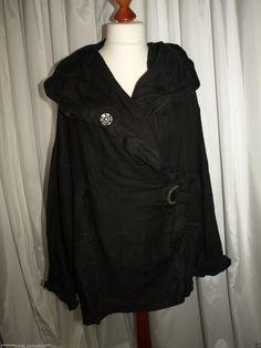 Barbara Speer Lagenlook leichte Leinen Jacke mit großer Kapuze schwarz NEU   eBay