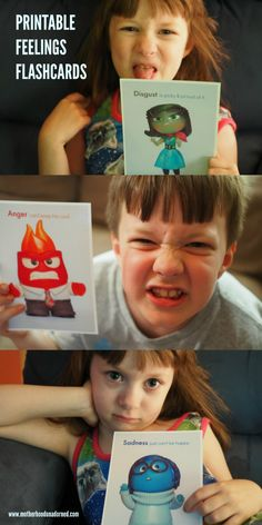 Great tips for talking to kids about emotions including printable feelings flash cards inspired by the characters of Inside Out. #PlayNGrow AD