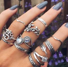 jewels rings and tings jewelry knuckle ring ring silver ring ring stack ring set boho bohemian boho chic boho jewelry Cute Jewelry, Boho Jewelry, Jewelry Rings, Silver Jewelry, Jewelry Accessories, Fashion Accessories, Silver Rings, Fashion Jewelry, Jewelry Box
