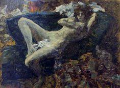 """""""Blue Nude"""" Nu bleu (1899-1900)   Musée d'Orsay, Paris • Pierre Bonnard.  Oil on canvas; 30.2 x 39.2 cm."""