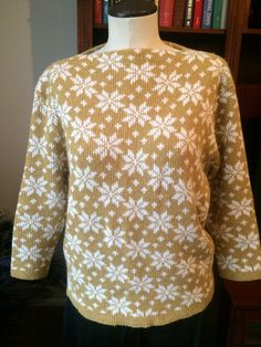 Bateau Neck Snowflake Sweater by PDeeVintage on Etsy
