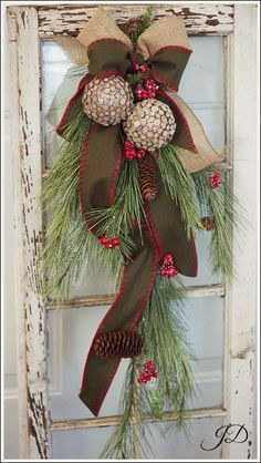 Christmas 32 Pine Door Swag by JenniferDecorates on Etsy, $95.00
