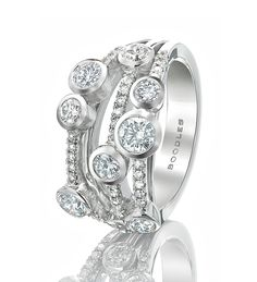 Classic Waterfall Ring. EUR 9,500  A contemporary, versatile ring from Boodles' iconic Waterfall collection, set with 1.41ct of round-brilliant cut diamonds in a multi-strand platinum shank.