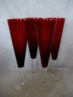 4 HAND BLOWN  RUBY RED/CRYSTAL FLUTES/ WINE GOBLETS | eBay