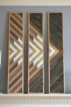 Wood wall art mountain top triple panel von SweetHomeWiscago