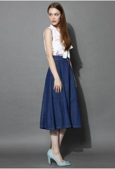 Swing Denim A-line Midi Skirt - Skirt - Bottoms - Retro, Indie and Unique Fashion