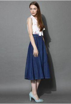 Swing Denim A-line Midi Skirt - Skirt - Bottoms - Retro, Indie and Unique Fashion