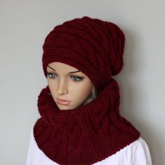 Handmade bobble hat and scarf set for women. Warm by WoolyThinker