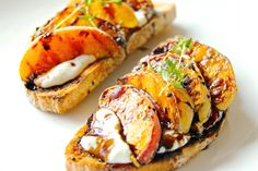 Grilled Peach Bruschetta with Herb Ricotta and Balsamic Reduction... have done a pear ricotta honey dessert, this sounds even better!