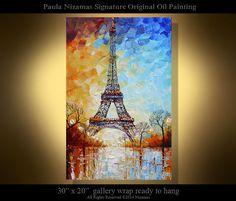 "Eiffel Tower PALETTE KNIFE texture Oil landscape Painting On Canvas By Paula Nizamas - 30"" Original Ready to Ship"