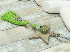 d2db60fff9984 Schlüsselanhänger - Schlüsselanhänger - LEDERSTERN - QUASTE - HAMSA - - ein  Designerstück von Kunterbuntes-Perlenspiel bei DaWanda