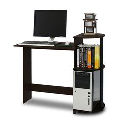 Furinno Compact Computer Desk, Espresso/Black Furinno Compact Computer Desk  For Laptop And Desktop Is Designed For Space Saving And Modern