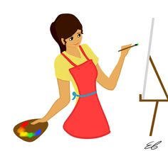 """Just Painting"" by me, Tristan Journey/Emily Tristan. Made in paint tool sai. 3/21/15 #girl #apron #painting #drawing #art #simple"