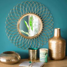 LUMPUR round gold-coloured metal mirror D 46 cm