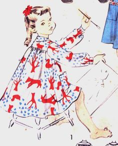 Advance 6496 1950s Girls Easy  Dress Smock Vintage Sewing Pattern by mbchills