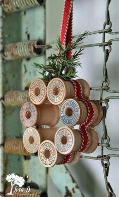Vintage thread spool mini wreath how-to., DIY and Crafts, Learn how to create mini wreaths from vintage thread spools in this DIY tutorial. Perfect for ornaments, present toppers or home decor. Diy Christmas Ornaments, Christmas Projects, Holiday Crafts, Christmas Wreaths, Christmas Decorations, Vintage Christmas Decorating, Christmas Crafts Sewing, Vintage Christmas Crafts, Advent Wreaths