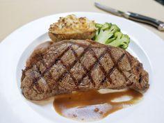 New York striploin steak at Harris Ranch Inn & Restaurant in Coalinga, California.