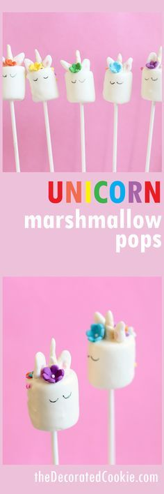unicorn marshmallow pops -- with video how-tos! Easy to make.