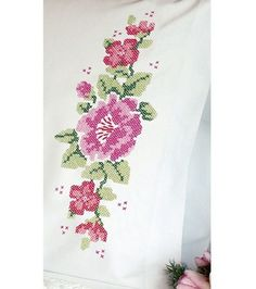 Dimensions Pillowcase Pair Stamped Cross Stitch Kit Pink Rose