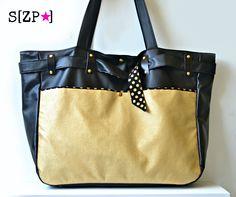 Sac à langer original et ceinturé Noir et Or, personnalisé et sur mesure   Belted diaper bag, modern and feminine.  http://shirleyzepap.com