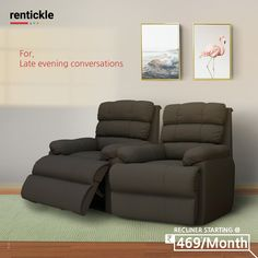 Kick your feet up and relax, rock, or recline. Super snug recliners to help you relax after a long day.  Thinking of Renting . Think of Rentickle! . . . #livingroom #familyroom #putyourfeetup #recliners #furnitureonrent #furniturerentals #rentickle #homefurniture  #moderndesign #modernchicdesign #luxuryfurnishings #classicdesign
