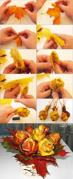 What a great idea to use those fallen leaves. Never have another bouquet die again! roses out of fall leaves!
