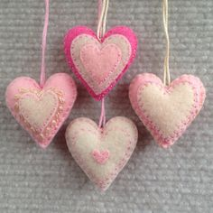 Pink and cream embroidered felt heart ornaments set by Lucismiles, $13.00
