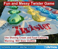 Board Games - Fun and Messy Twister Game Birthday Party Games For Kids, Sleepover Party, Messy Twister, Twister Game, Sweet 16 Birthday, 16th Birthday, September Birthday, Sweet Sixteen Parties, Camping Crafts